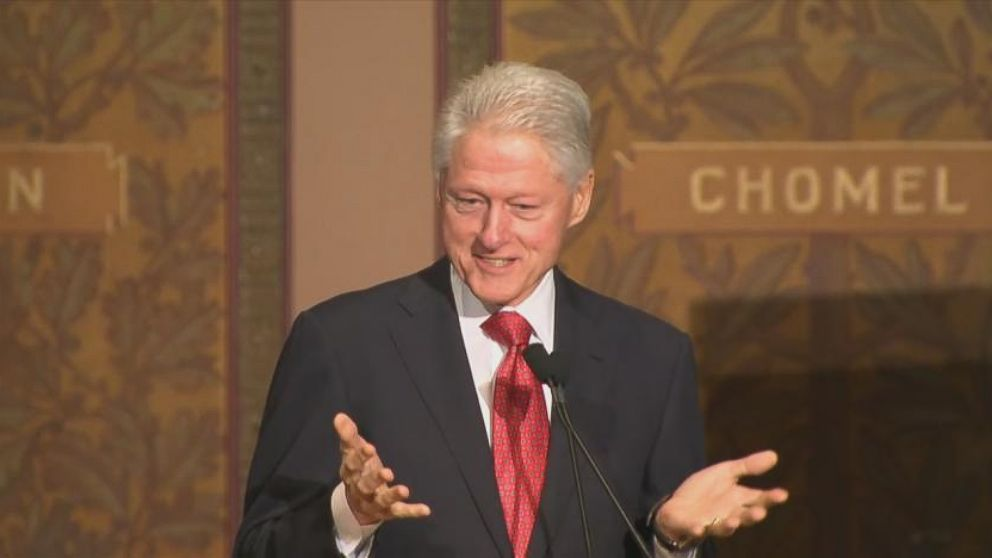 VIDEO: Former President Bill Clinton thanks his wife former Secretary of State Hillary Clinton for attending his policy speech at Georgetown University.