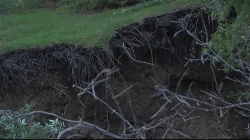 The sinkhole was initially filled with rocks and covered with grass, but it kept growing and swallowing up trees.