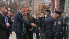 VIDEO: New York Mayor Bill De Blasio and Police Commissioner Bill Bratton visit the homes of slain NYPD officer Rafael Ramos.