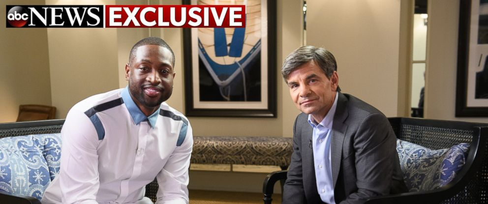 PHOTO: NBA star Dwyane Wade talks with ABC News' George Stephanopoulos in an exclusive interview on Thursday, Sept. 1, 2016.