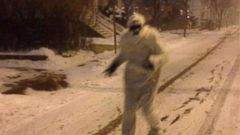 VIDEO: A person seen wearing a costume of the mythical creature was photographed roaming desolate streets.