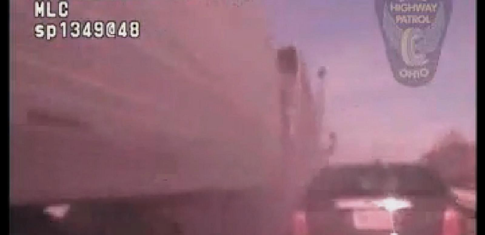 VIDEO: Ohio State Trooper Nearly Hit by Oncoming Truck
