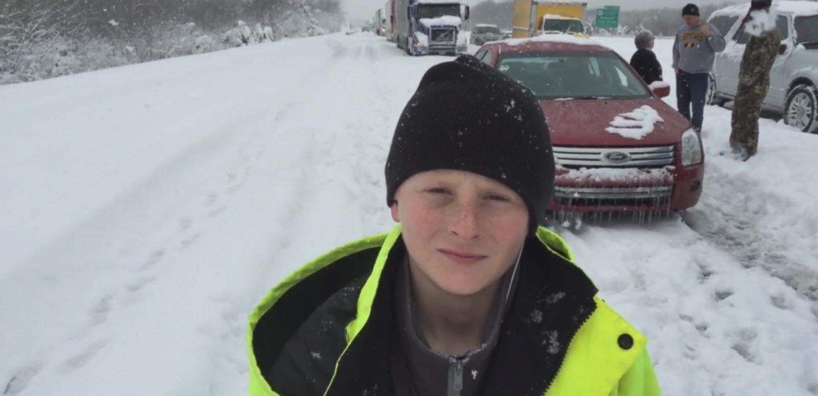 VIDEO: Adam Kehoe reports from I-65 as his family is stuck on the road during a winter storm.