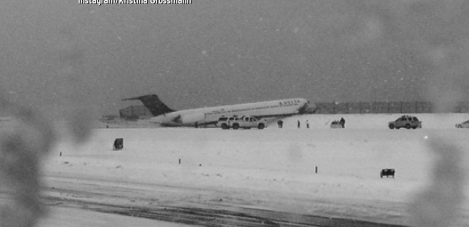 VIDEO: The aircraft crashed into a fence during winter weather conditions.