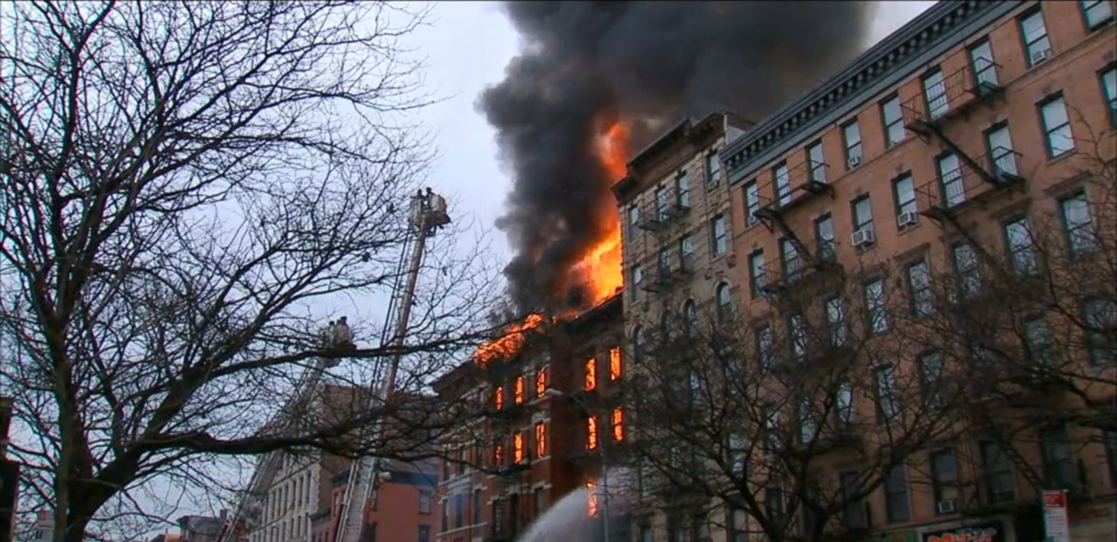 VIDEO: A gas explosion is suspected to have caused the 7-alarm blaze at a building on Manhattan's Lower East Side, injuring at least 12 people.