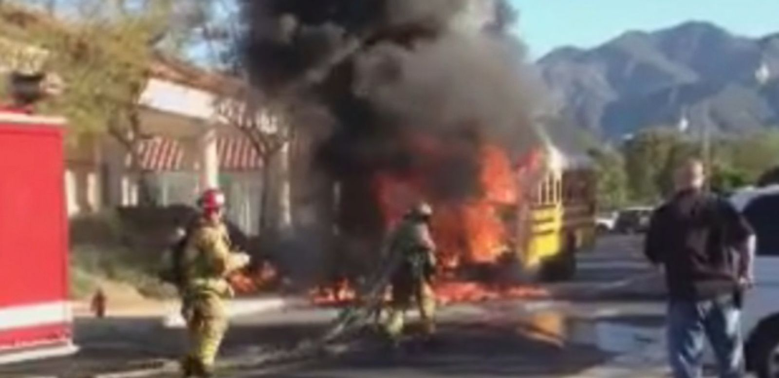 """VIDEO: A """"hero"""" bus driver is being lauded for evacuated 35 students from Rancho Santa Margarita Intermediate School shortly before the bus caught fire."""