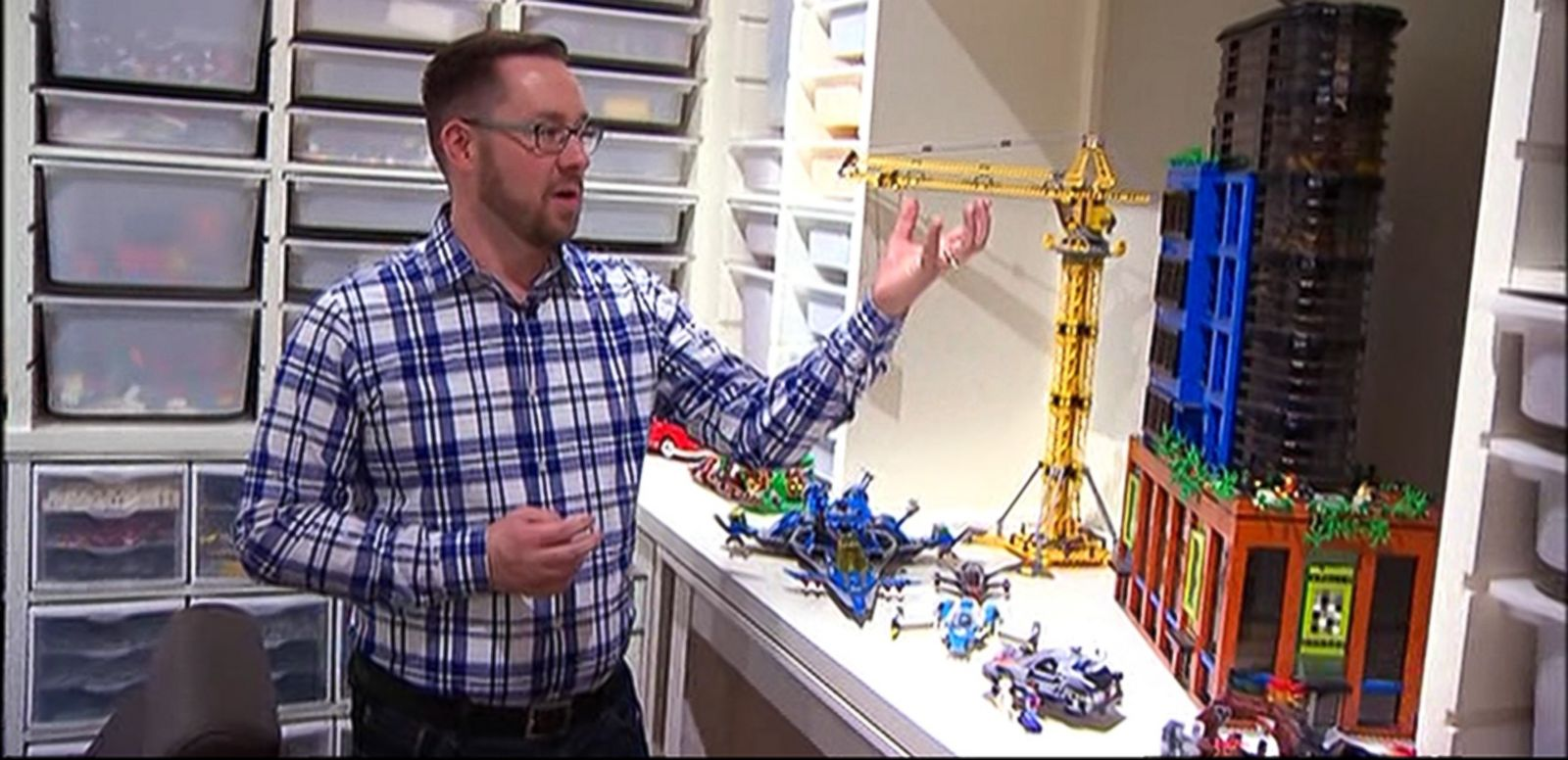 VIDEO: Jeff Pelletier's love for Legos now has its own room, complete with 150 bins to store those little plastic pieces.