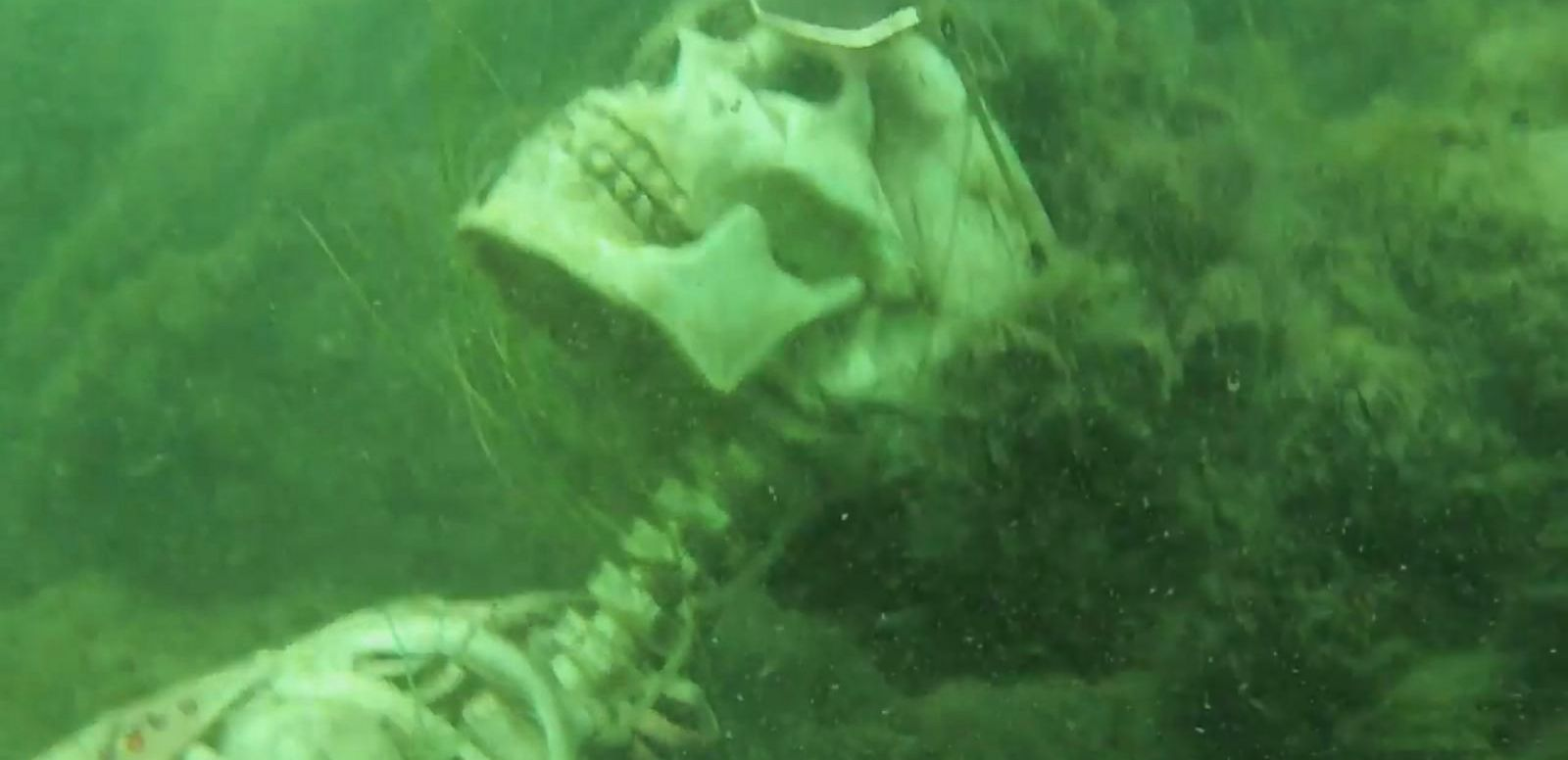 VIDEO: A snorkeler on the Arizona-California border called authorities after discovering what he thought were human skeletons sitting in lawn chairs.