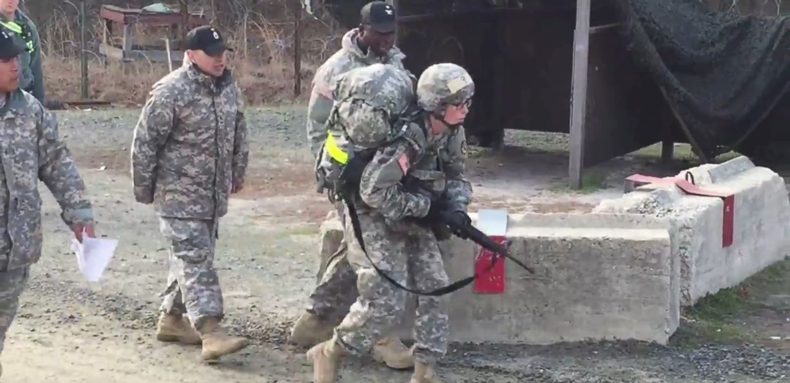 VIDEO: Capt. Sarah Cudd is shown stumbling to finish the trek in under three hours at New Jersey's Fort Dix.