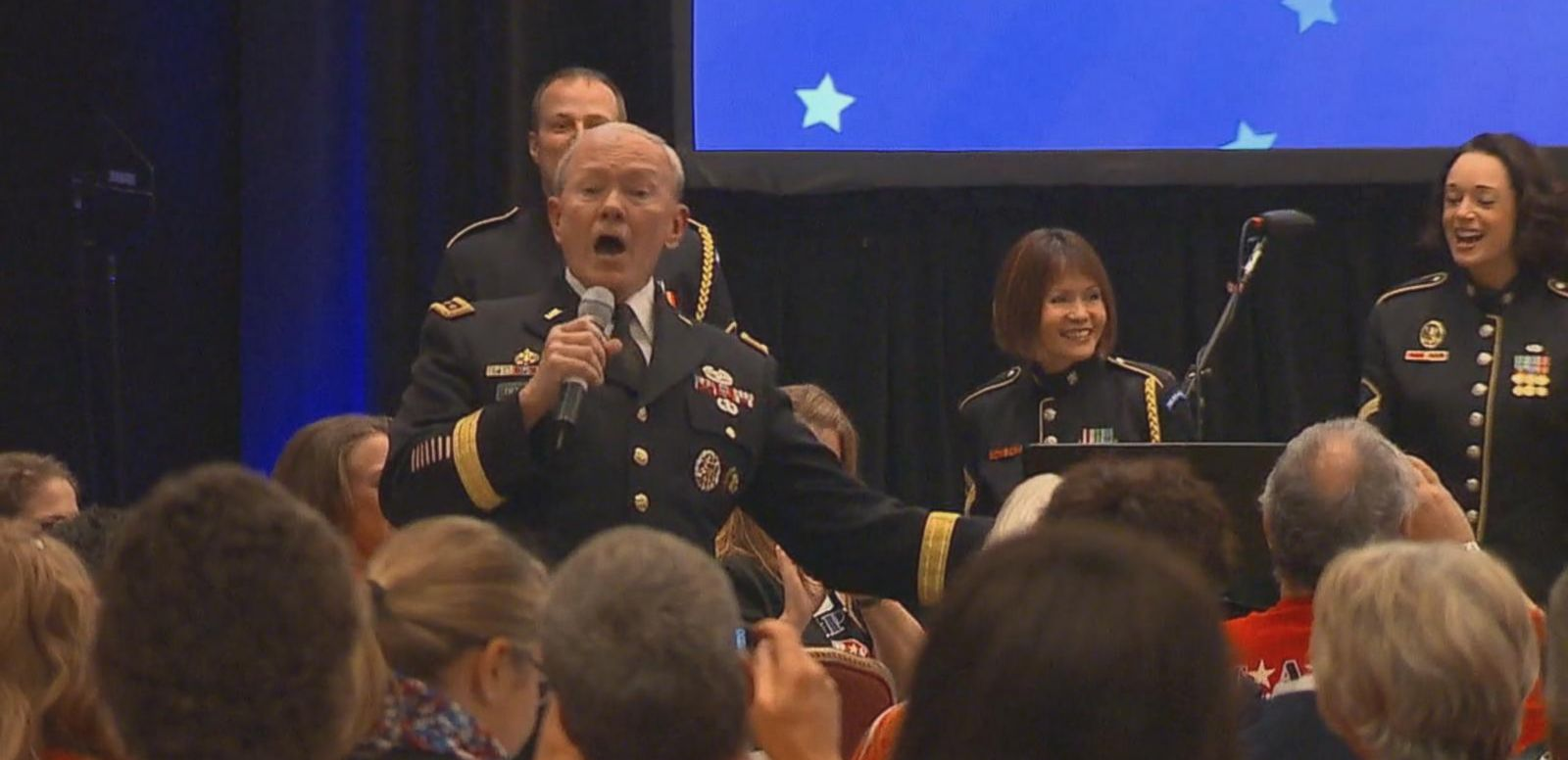 VIDEO: Joint Chiefs Chairman Martin Dempsey Sings to Cheer up Families of Fallen Service Members