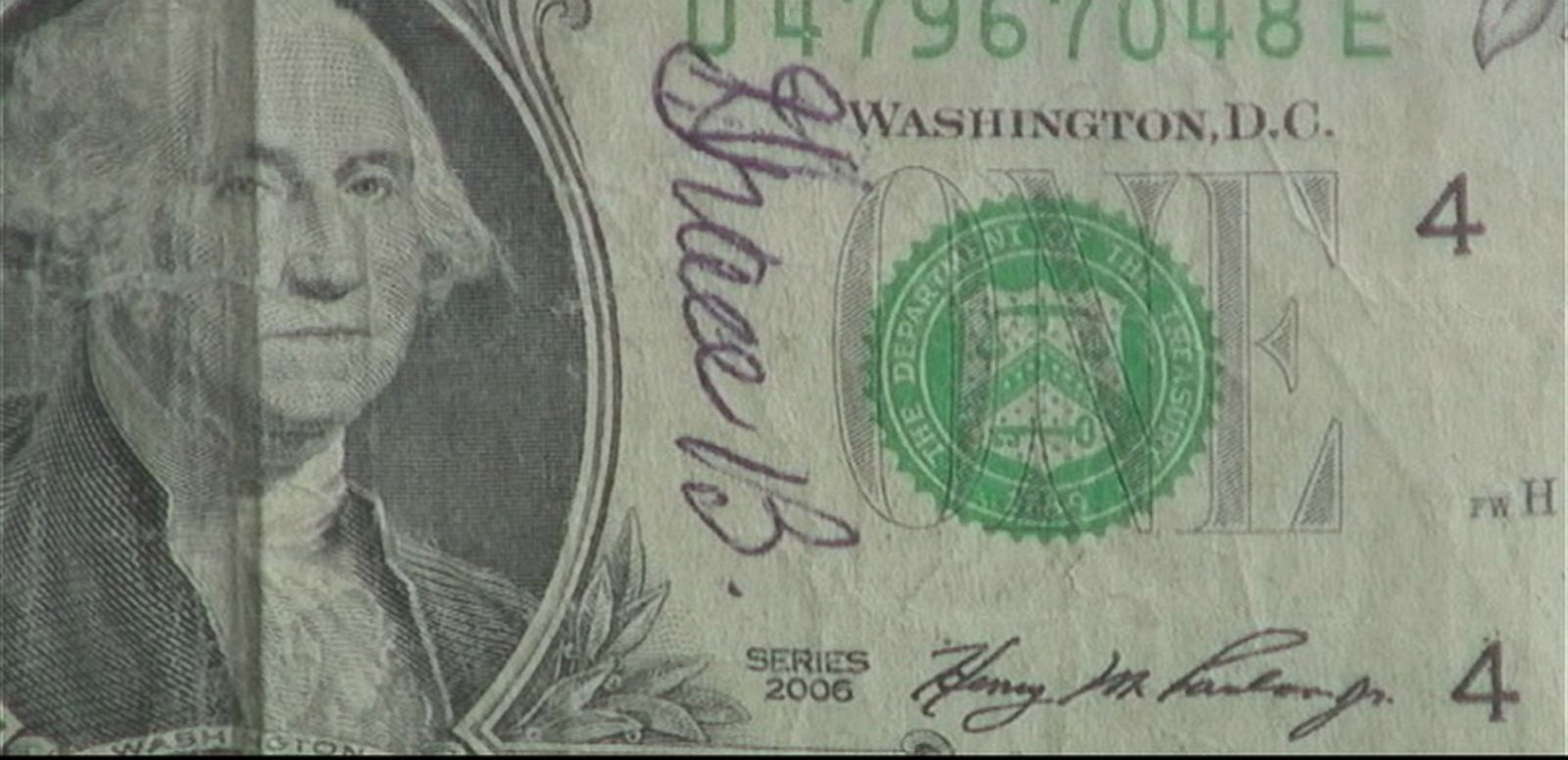 VIDEO: Peter Bilello accidentally spent a dollar bill bearing his wife's signature, but was reunited with the precious currency five years later at a Subway restaurant.