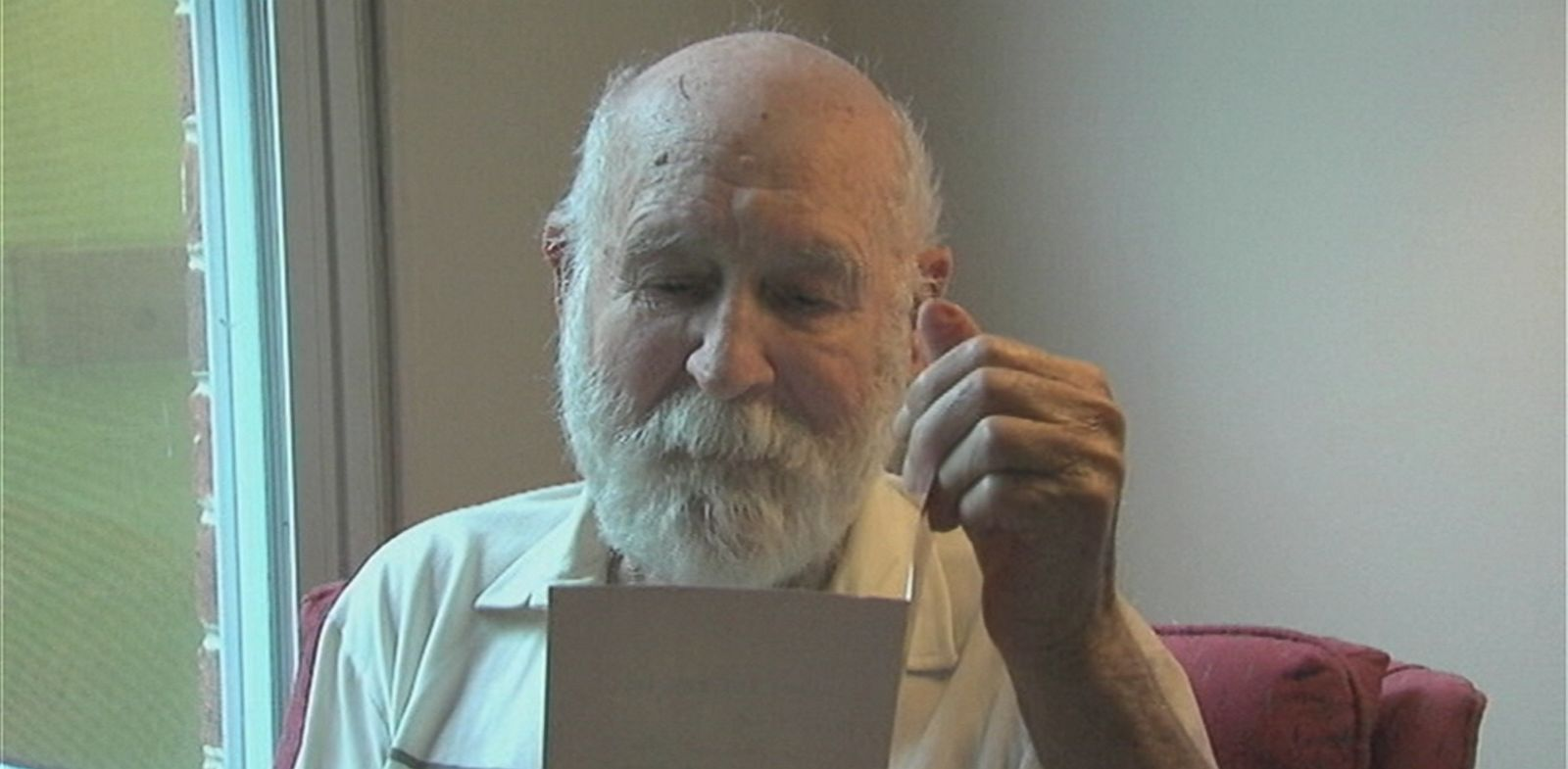 VIDEO: Duane Schrock, 87, was recently given a card originally mailed by his son in 1989.