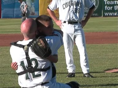 Watch Military Dad Surprise Son at Baseball Game
