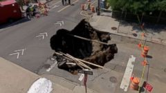VIDEO: Officials say the sinkhole formed due to a water leak under the road.