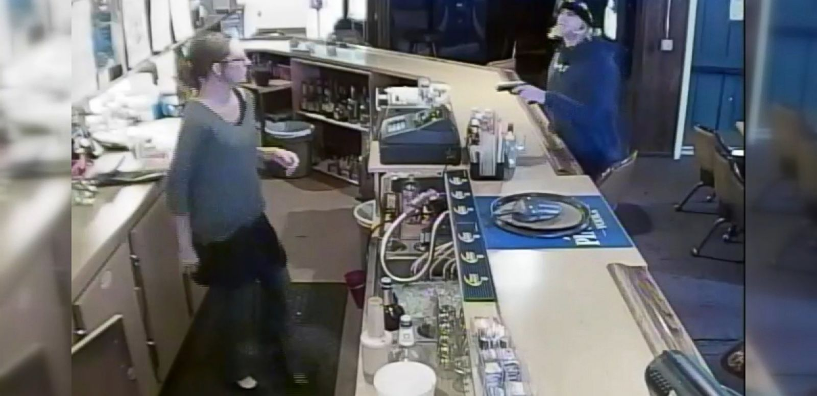 VIDEO: Police say the man ordered a couple shots of Jack Daniels before turning a gun on a bartender.