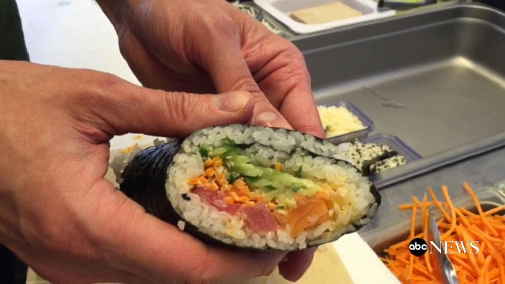 Food fusion making a sushi burrito video abc news for Abc kitchen restaurant week menu