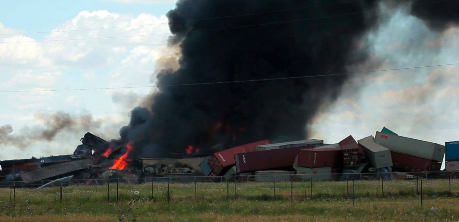 VIDEO: Debris from the head-on train collision spreads across an area the size of four football fields.