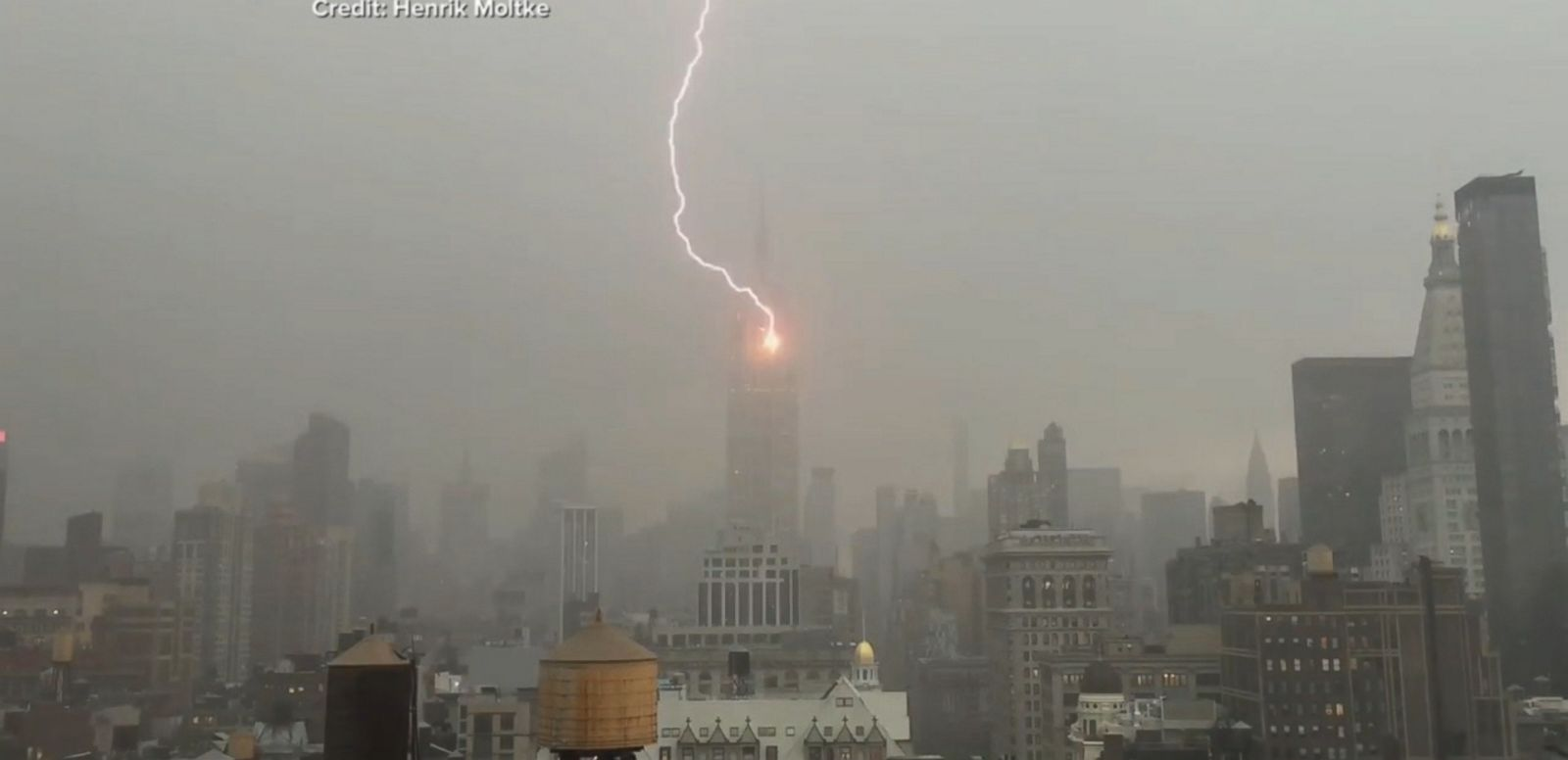 VIDEO: The Empire State building was hit by a bolt of lightning during a severe storm that soaked the city.