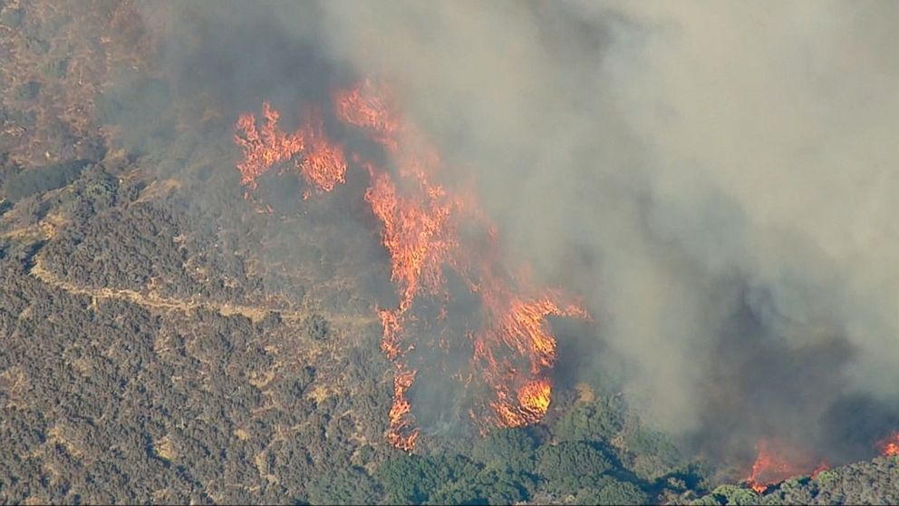 VIDEO: A wildfire that started just after noon in Southern California on Sunday had already consumed 1,500 acres by nightfall, according to San Bernardino National Forest officials.