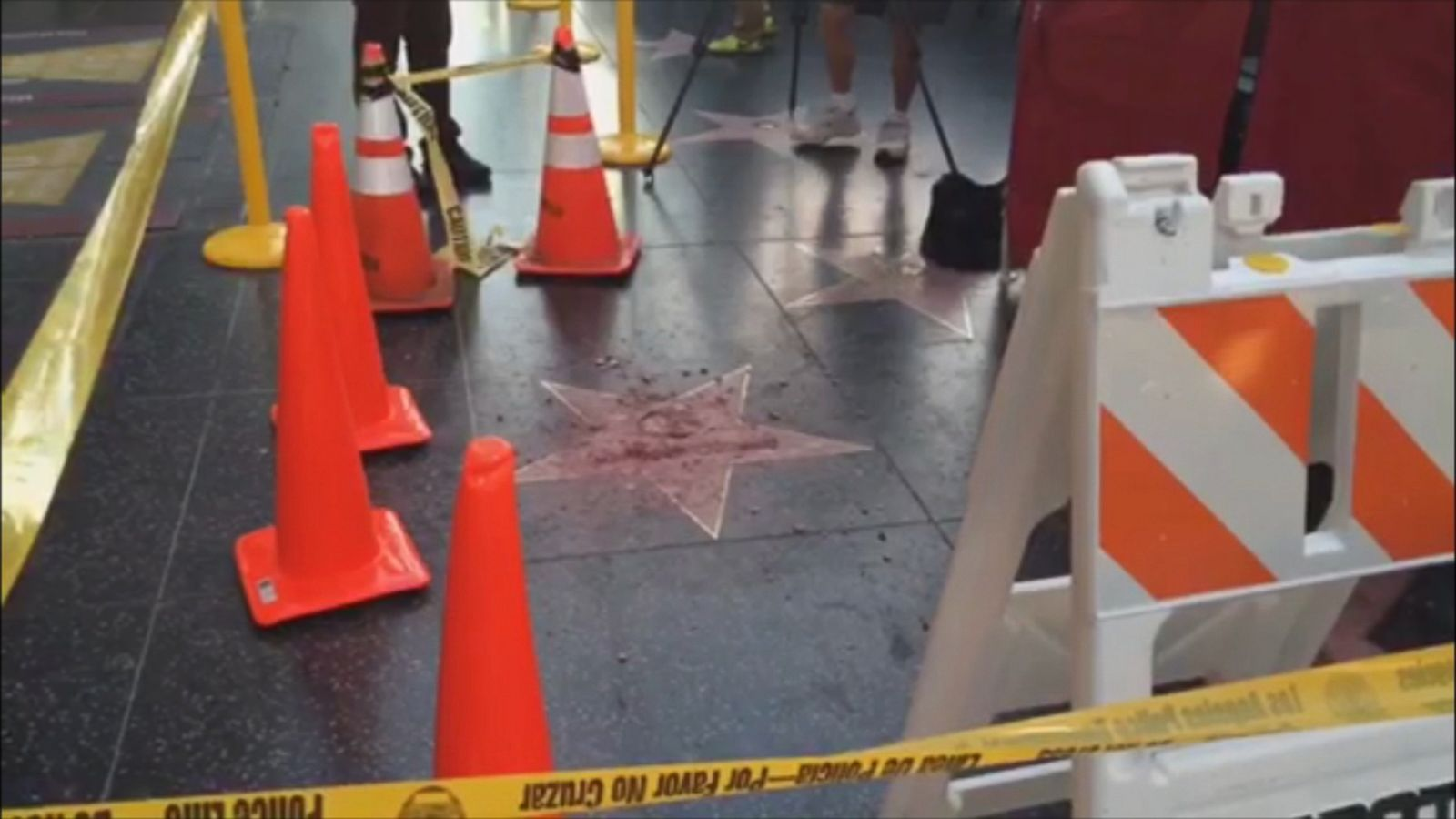 Los Angeles police are investigating the vandalizing of Donald Trump's star on the Hollywood Walk of Fame.