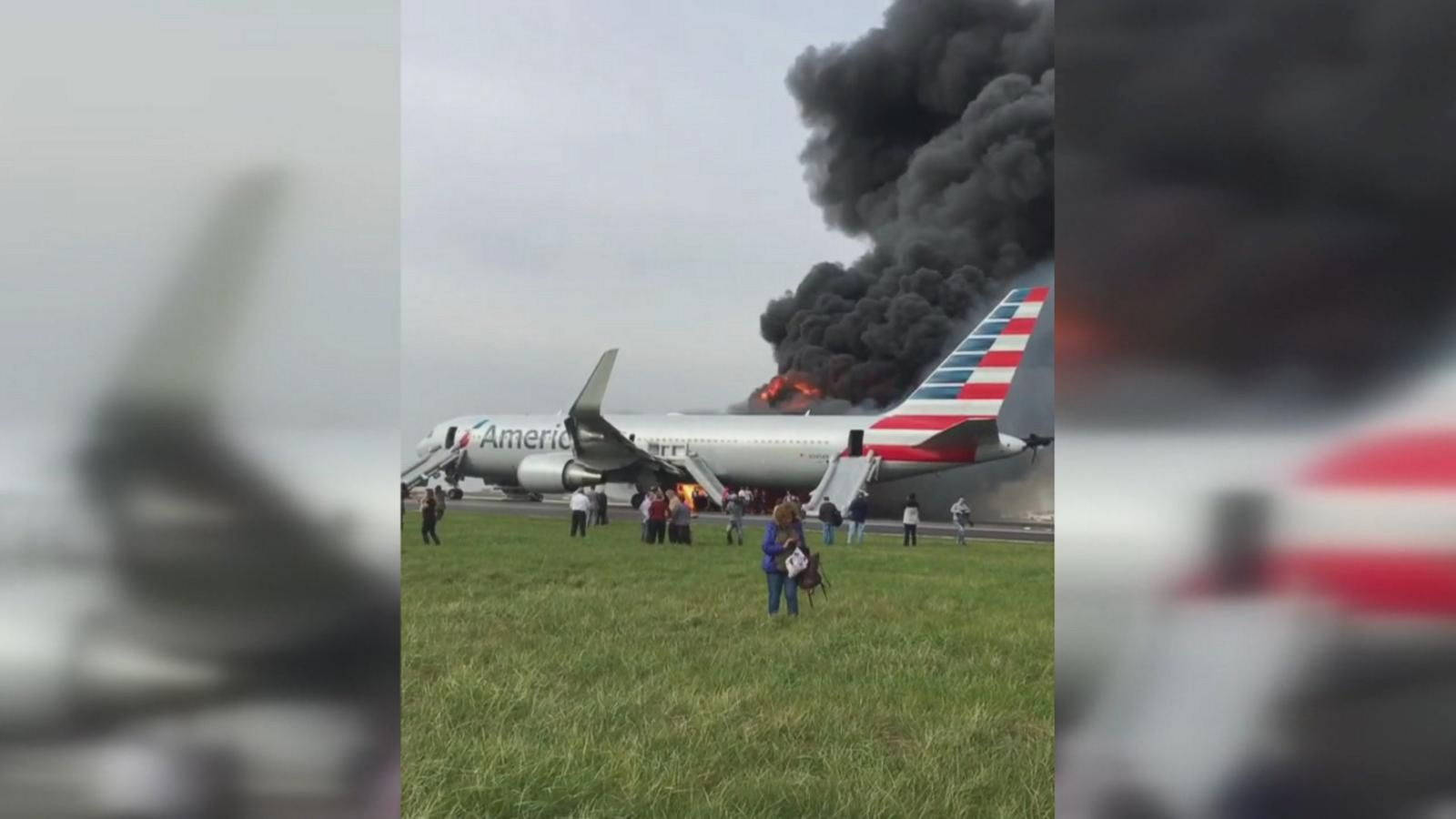 A passenger recorded video of the intense flames and heavy smoke on the plane.