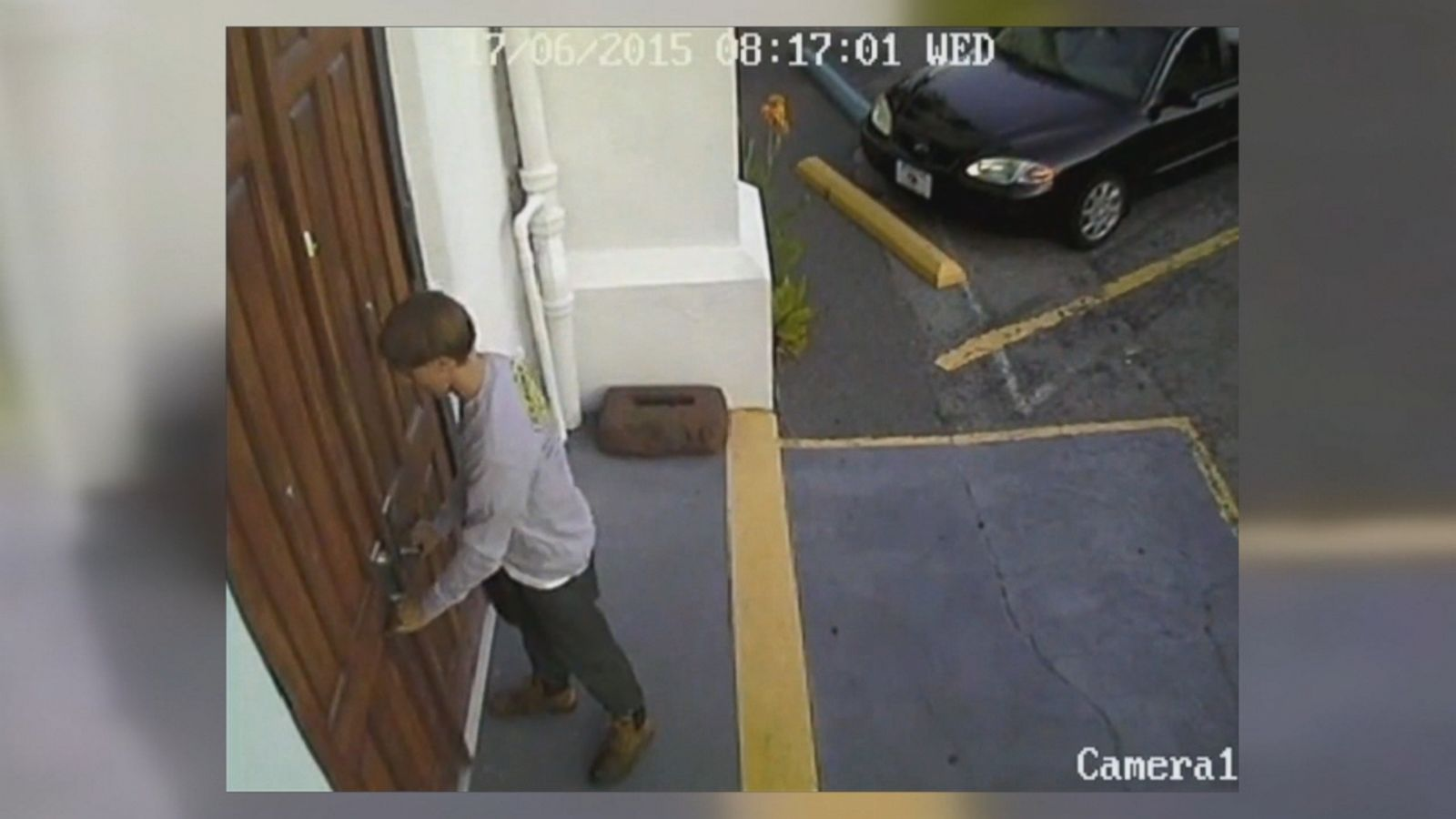 Jurors in the Charleston church shooting trial viewed videos today of Dylann Roof entering and exiting the Emanuel AME Church on June 17, 2015.