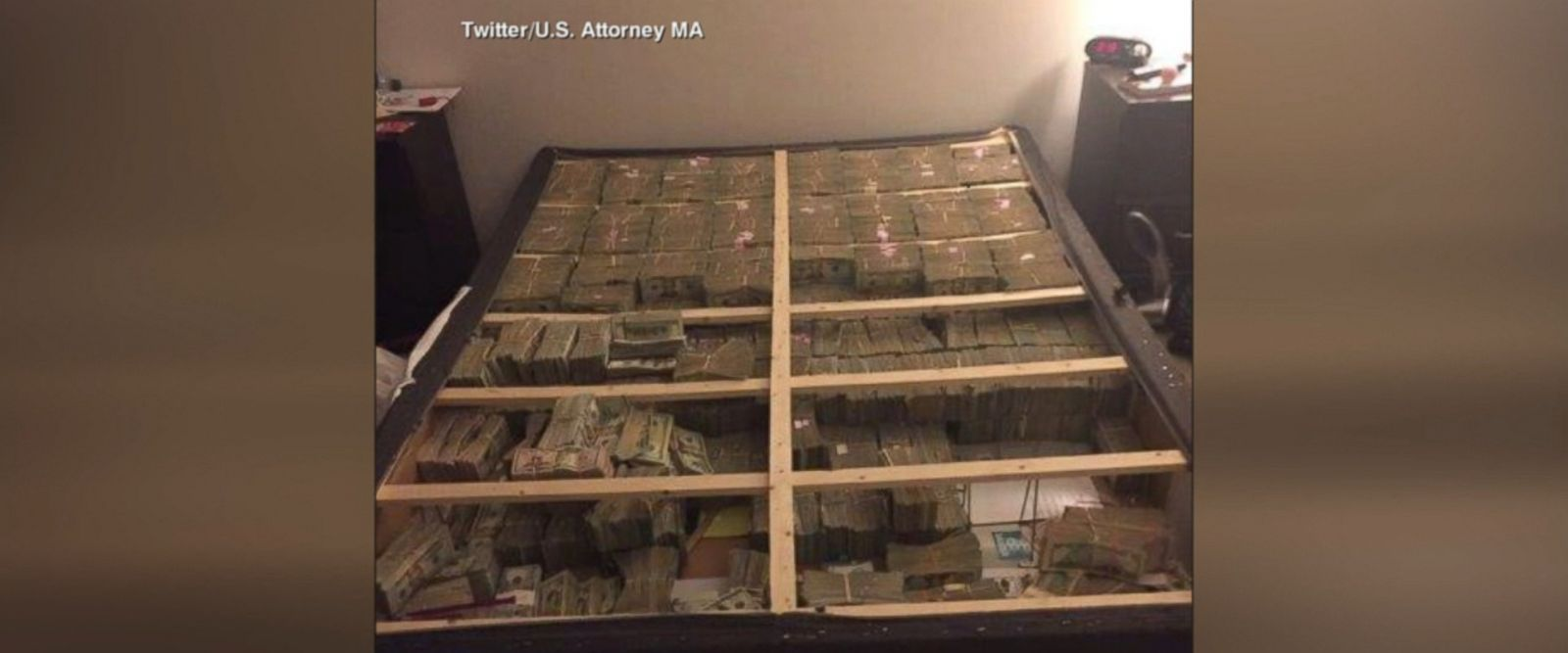 VIDEO: A new image released by the U.S. Attorney's Office on Monday shows $20 million in cash that authorities found stashed in a box spring in a Massachusetts apartment.
