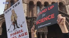 Hundreds of scientists, environmental advocates and their supporters held a rally in Boston on Sunday to protest what they see as increasing threats to science and research in the U.S.