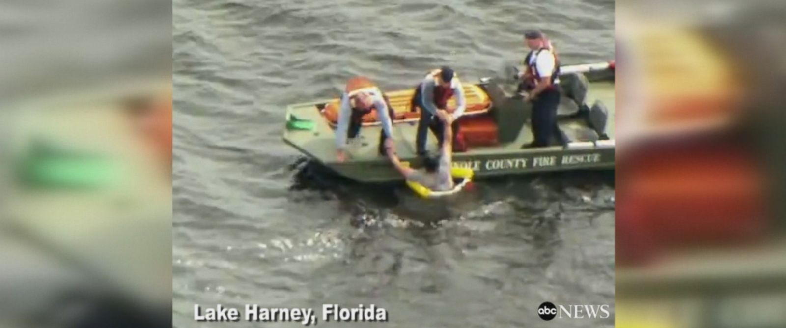 Dramatic rescue captured on video as deputies rescuing men from lake in Florida after their boat capsizes.