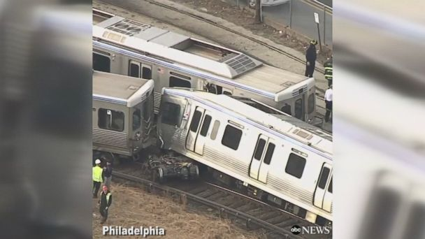 Video shows aftermath of collision of 2 out-of-service trains in Pennsylvania; no passengers were reported onboard.