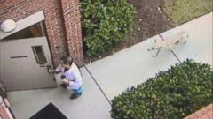 The scary incident was captured on surveillance video.