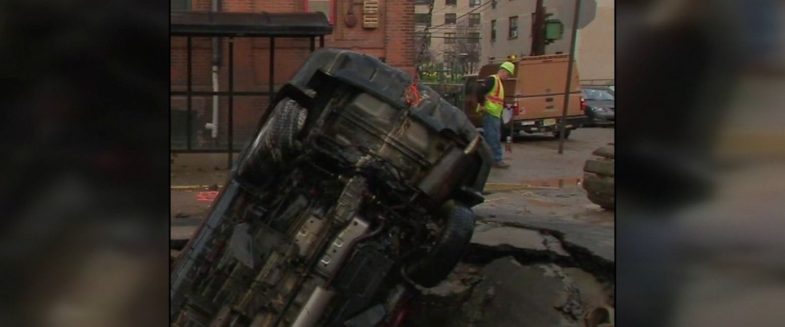 Water main break in Hoboken, New Jersey, creates sinkhole that swallows entire SUV.