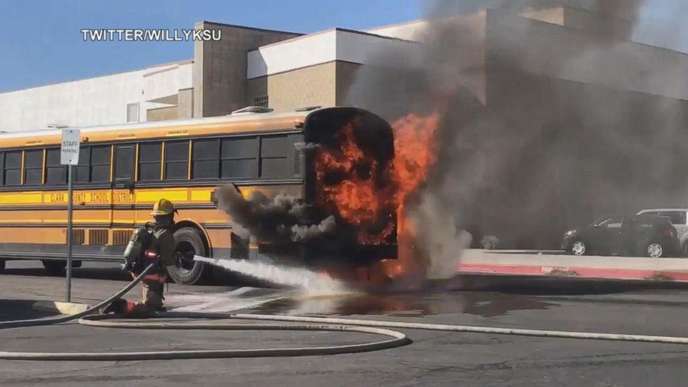 School Bus Catches Fire Outside Las Vegas High School