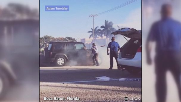 VIDEO: The dramatic scene unfolded on a road in Boca Raton, Florida.