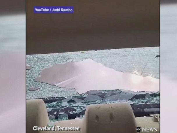 WATCH:  Hail breaks car's rear windshield