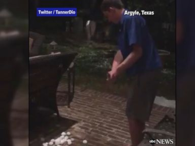 WATCH:  Young man plays golf with hail in Texas