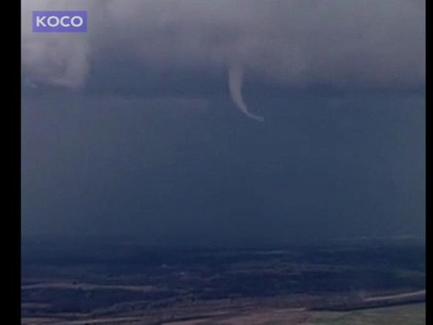 WATCH:  Narrow twister spotted in sky above Stratford, Oklahoma