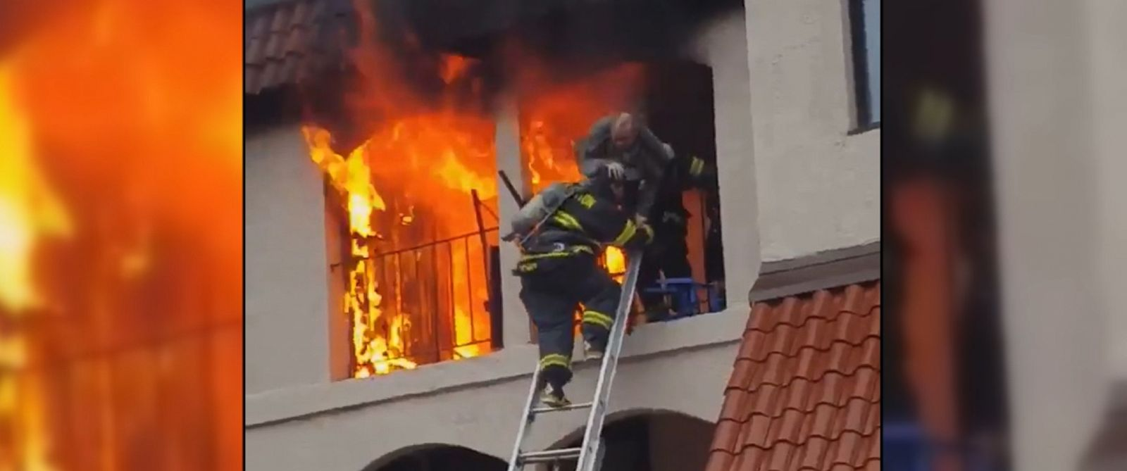 VIDEO: Dramatic video shows firefighters rescuing a man from a burning apartment in Brockton, Massachusetts. The man is being treated for burns at a local hospital.