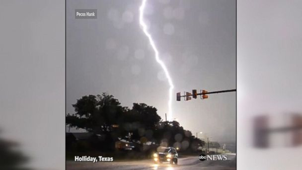 Video shows lightning hit a house twice in Holliday, Texas after severe thunderstorms swept through the state.
