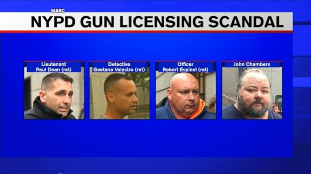 Three former NYPD officers and a former assistant district attorney have been arrested and charged in Manhattan federal court in connection with a gun licensing bribery scheme.