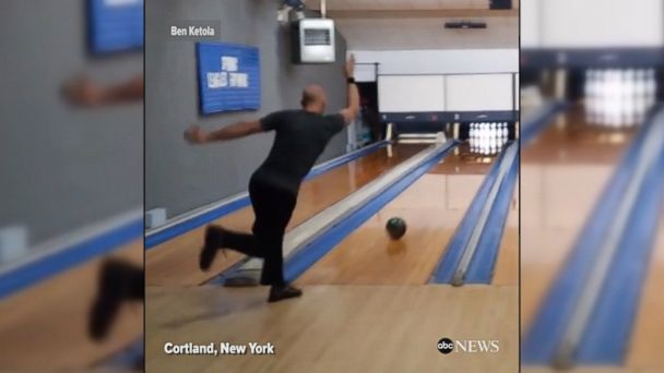 VIDEO: Ben Ketola bowls the world's fastest perfect game at a bowling alley in Cortland, NY; Twelve strikes, 10 different lanes, and 10 different balls in 86.9 seconds.