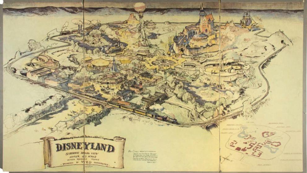 Walt Disneys Original Handdrawn Map Of Disneyland Up For Auction - Sketch drawing us map