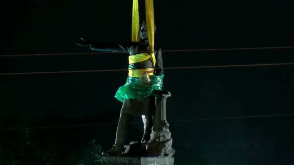 VIDEO: The monument to Jefferson Davis is the 2nd of four slated for removal.