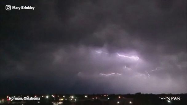 Footage shows lightning storm illuminating the skies above Norman, Oklahoma.