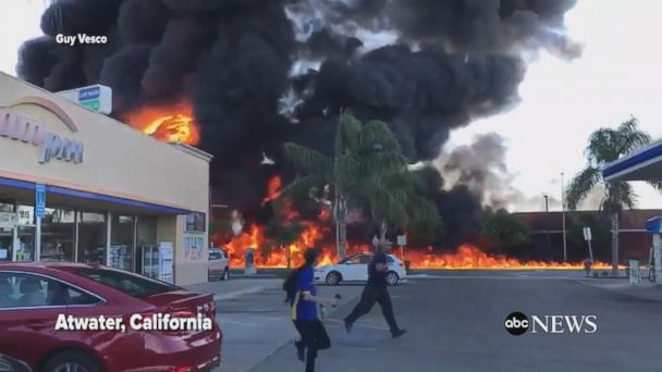 VIDEO: Overturned tanker causes massive fire in California