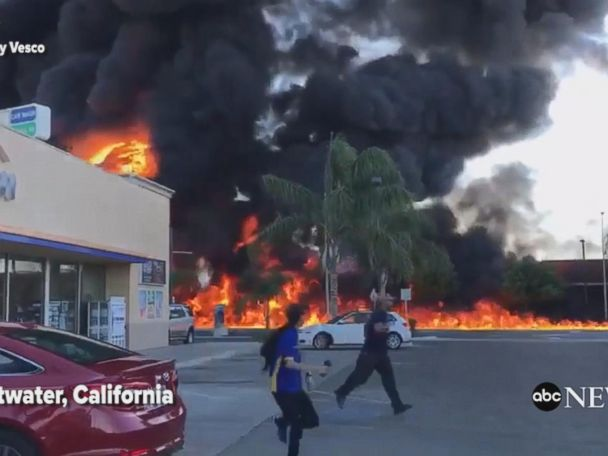 WATCH:  Overturned tanker causes massive fire in Calif.