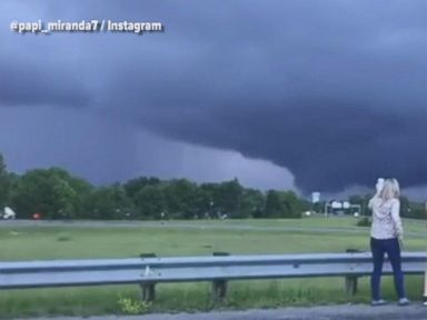 WATCH:  Motorists pull over for better look at massive funnel cloud