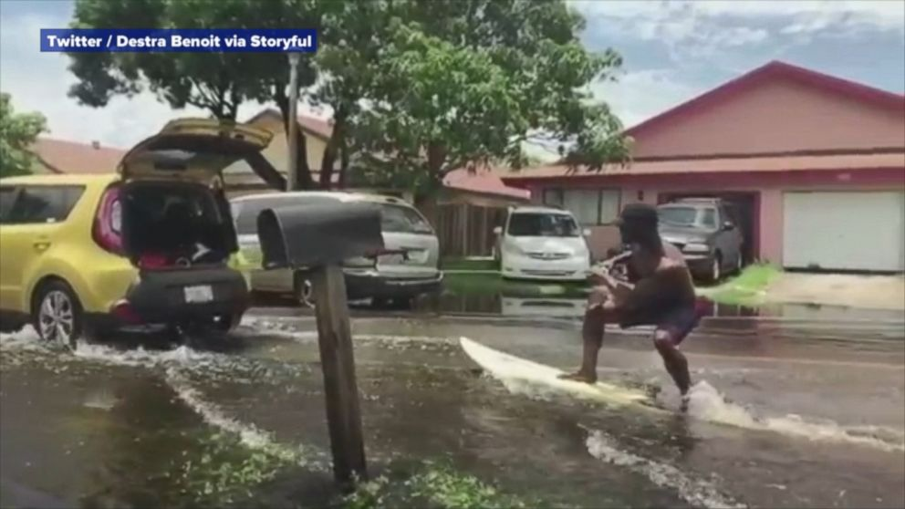 VIDEO: Surf's up on the streets of south Florida thanks to recent heavy rains.