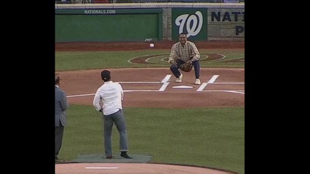 VIDEO: Police officer injured in Virginia shooting throws first pitch at Congressional Baseball Game