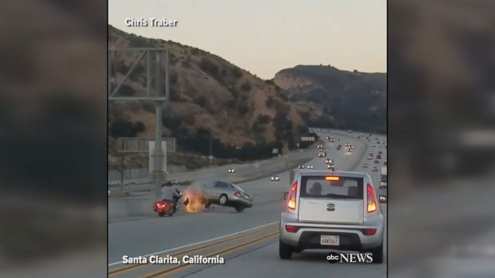 An apparent case of road rage triggered a horrifying chain-reaction crash in Santa Clarita, California. At least one person was injured in the incident.